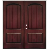 Rustic Pre-finished Mahogany Fiberglass Prehung Double Door Unit