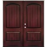 Rustic Pre-finished Mahogany Fiberglass Prehung Double Door Unit
