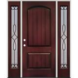 Rustic Pre-finished Mahogany Fiberglass Prehung Door Unit with Sidelites