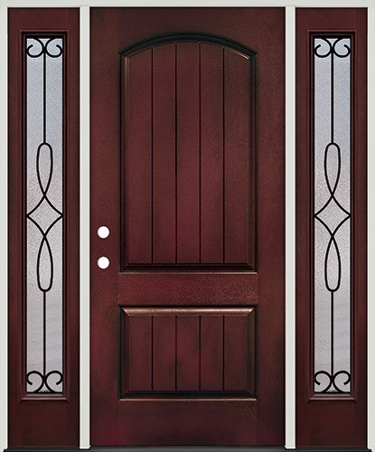 Rustic Pre-finished Mahogany Fiberglass Prehung Door Unit with Sidelites