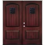 Rustic Pre-finished Mahogany Fiberglass Prehung Double Door Unit with Speakeasy
