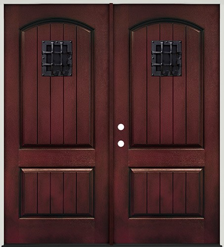Rustic Pre-finished Mahogany Fiberglass Prehung Double Door Unit with Speakeasy  sc 1 st  Saginaw Surplus & Discounts on Rustic Doors in Dallas-Fort Worth