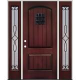Rustic Pre-finished Mahogany Fiberglass Prehung Door Unit with Sidelites & Speakeasy