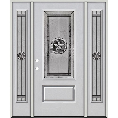 Texas Star 3/4 Lite Fiberglass Prehung Door Unit with Sidelites #70
