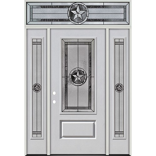 Texas Star 3/4 Lite Fiberglass Prehung Door Unit with Transom #70