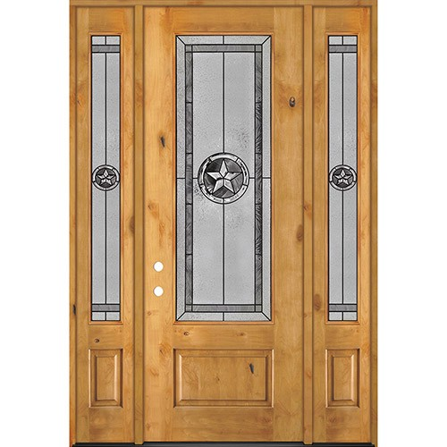 "Texas Star 8'0"" Tall 3/4 Lite Knotty Alder Wood Door Unit with Sidelites #90"
