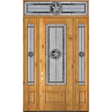 "Texas Star 8'0"" Tall 3/4 Lite Knotty Alder Wood Door Unit with Transom #90"