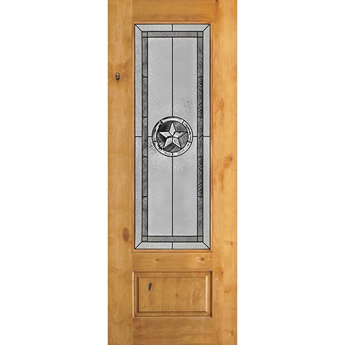 "Texas Star 8'0"" Tall 3/4 Lite Knotty Alder Wood Door Slab #90"