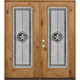 Texas Star Full Lite Knotty Alder Wood Double Door Unit #90