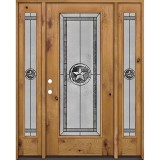 Texas Star Full Lite Knotty Alder Wood Door Unit with Sidelites #90