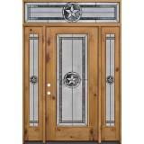 Texas Star Full Lite Knotty Alder Wood Door Unit with Transom #90