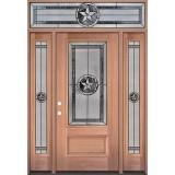 Texas Star 3/4 Lite Mahogany Wood Door Unit with Transom #70