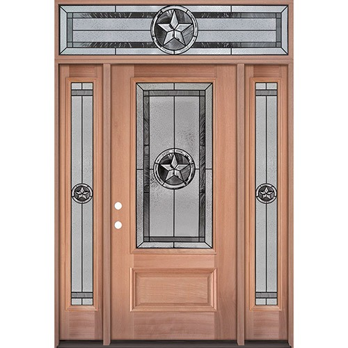 Texas Star 3/4 Lite Mahogany Wood Door Unit with Transom #70