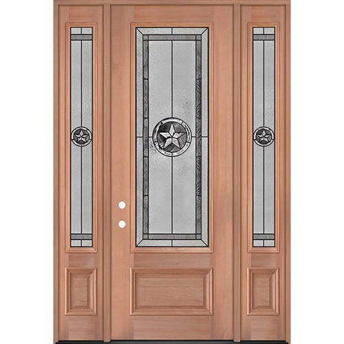 "Texas Star 8'0"" Tall 3/4 Lite Mahogany Wood Door Unit with Sidelites #90"