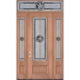 "Texas Star 8'0"" Tall 3/4 Lite Mahogany Wood Door Unit with Transom #90"