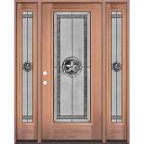 Texas Star Full Lite Mahogany Wood Door Unit with Sidelites #90