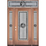 Texas Star Full Lite Mahogany Wood Door Unit with Transom #90