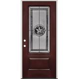 Texas Star 3/4 Lite Pre-finished Mahogany Fiberglass Prehung Door Unit #70