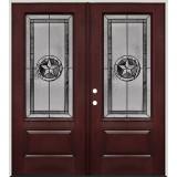 Texas Star 3/4 Lite Pre-finished Mahogany Fiberglass Prehung Double Door Unit #70