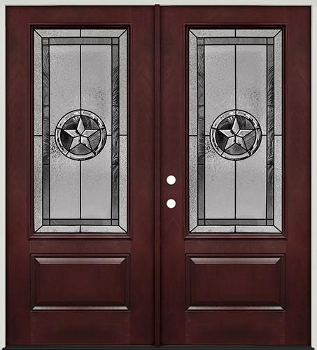 Texas Star 3/4 Lite Pre-finished Mahogany Fiberglass Prehung Double Door Unit #70
