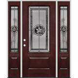 Texas Star 3/4 Lite Pre-finished Mahogany Fiberglass Prehung Door Unit with Sidelites #70