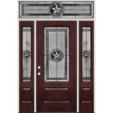 Texas Star 3/4 Lite Pre-finished Mahogany Fiberglass Prehung Door Unit with Transom #70