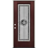 Texas Star Full Lite Pre-finished Mahogany Fiberglass Prehung Door Unit #90