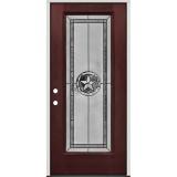 Texas Star Full Lite Pre-finished Mahogany Fiberglass Prehung Door Unit #90