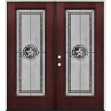 Texas Star Full Lite Pre-finished Mahogany Fiberglass Prehung Double Door Unit #90