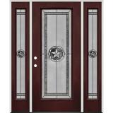 Texas Star Full Lite Pre-finished Mahogany Fiberglass Prehung Door Unit with Sidelites #90