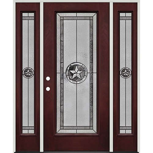 Texas Star Full Lite Pre-finished Mahogany Fiberglass Prehung Door Unit with Sidelites #90