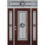 Texas Star Full Lite Pre-finished Mahogany Fiberglass Prehung Door Unit with Transom #90