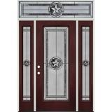 Texas Star Full Lite Pre-finished Mahogany Fiberglass Prehung Door Unit with Transom #90