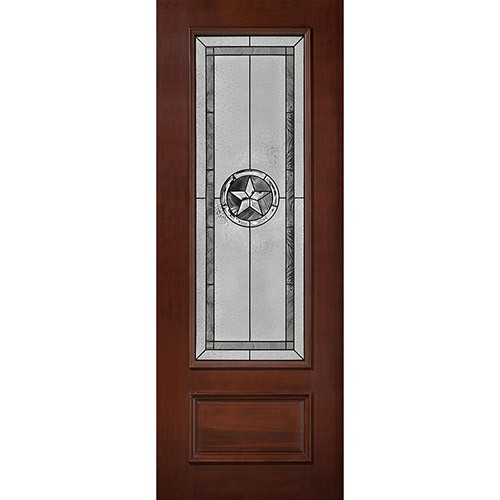 "Texas Star 8'0"" Tall 3/4 Lite Pre-finished Mahogany Wood Door Slab #90"