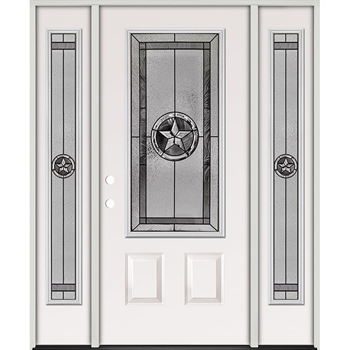 Texas Star 3/4 Lite Steel Prehung Door Unit with Sidelites #70