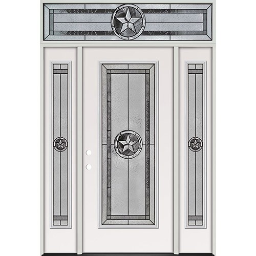 Texas Star Full Lite Steel Prehung Door Unit with Transom #90