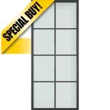 "36"" x 84"" Modern 8-Lite Steel Barn Door & 72"" Hardware Kit"