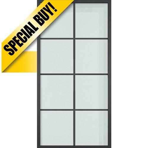"42"" x 84"" Modern 8-Lite Steel Barn Door & 84"" Hardware Kit"