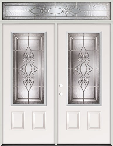 Cheap 3 4 Lite Steel Prehung Double Door Unit With Transom 73
