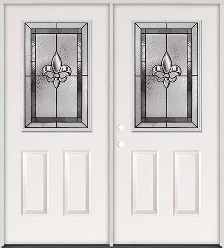 Half Lite Fleur-De-Lis Steel Prehung Double Door Unit #41