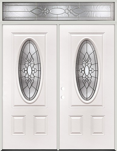 3/4 Oval Steel Prehung Double Door Unit with Transom #64