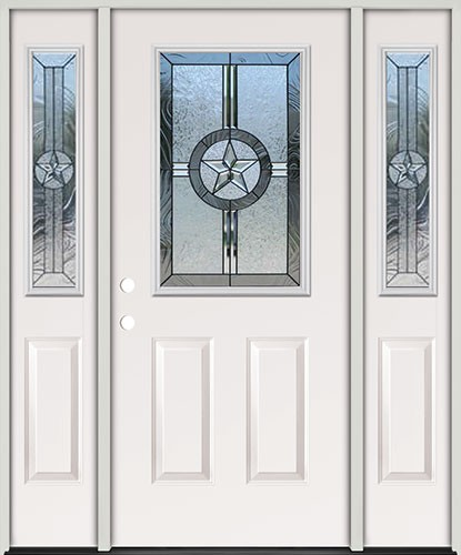 Star Half Lite Fiberglass Prehung Door Unit with Sidelites #40