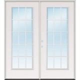 "5'0"" 15-Lite Fiberglass Patio Prehung Double Door Unit"