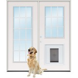 "6'0"" 15-Lite/9-Lite Steel Patio Prehung Double Door Unit with Pet Door Insert"
