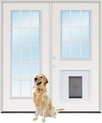 """6'0"""" 15-Lite/9-Lite Steel Patio Prehung Double Door Unit with Pet Door Insert"""