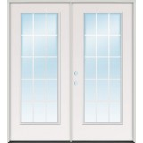 "5'0"" 15-Lite GBG Steel Patio Prehung Double Door Unit"