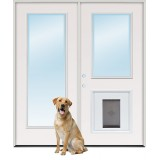 "6'0"" Full Lite/Half Lite Steel Patio Prehung Double Door Unit with Pet Door Insert"