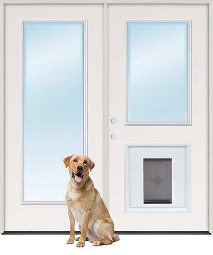 """6'0"""" Full Lite/Half Lite Steel Patio Prehung Double Door Unit with Pet Door Insert"""