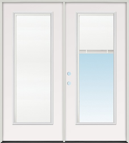 "6'0"" Miniblind Full Lite Fiberglass Patio Prehung Double Door Unit"