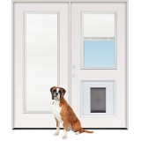 "6'0"" Miniblind Full/Half Lite Steel Patio Prehung Double Door Unit with Pet Door Insert"